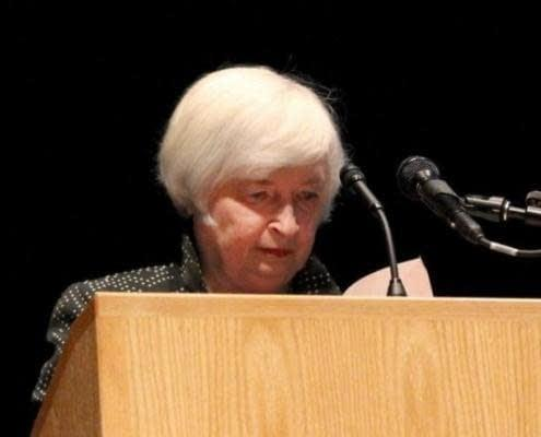 U.S. Federal Reserve Chair Janet Yellen pauses as she looks down at her speech as she struggled to finish at the University of Massachusetts in Amherst